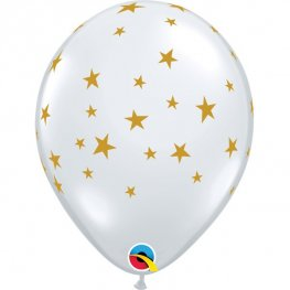 "11"" Diamond Clear Contempo Stars Latex Balloons 25pk"