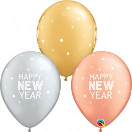 "11"" New Year Sparkle & Dots Latex Balloons 6pk"