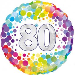 "18"" 80th Colourful Confetti Birthday Foil Balloons"