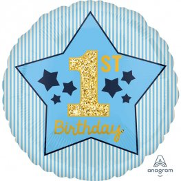 "18"" 1st Birthday Boy Blue & Gold Foil Balloons"