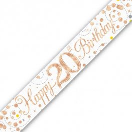 Sparkling Fizz Happy 20th Birthday Holographic Banner