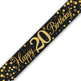 Black Sparkling Fizz Happy 20th Birthday Holographic Banner