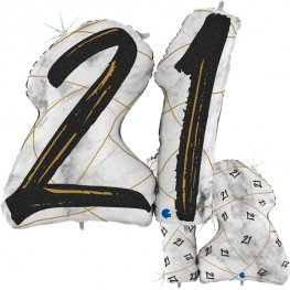 21 Black Marble Mate Shape Number Balloons