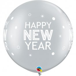 "30"" Silver New Year Sparkles & Dots Latex Balloons 2pk"