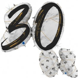 30 Black Marble Mate Shape Number Balloons
