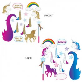 Unicorn Glittered Photo Fun Signs 16pk