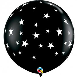 3ft Onyx Black Contempo Stars A Round Latex Balloons 2pk
