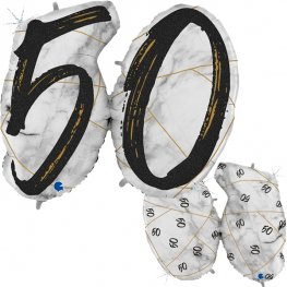 50 Black Marble Mate Shape Number Balloons