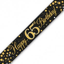 Black Sparkling Fizz Happy 65th Birthday Holographic Banner