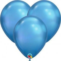 "7"" Chrome Blue Latex Balloons 100pk"