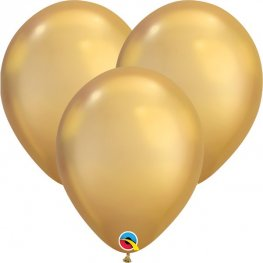 "7"" Chrome Gold Latex Balloons 100pk"