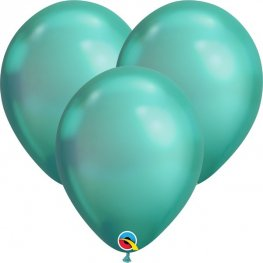 "7"" Chrome Green Latex Balloons 100pk"