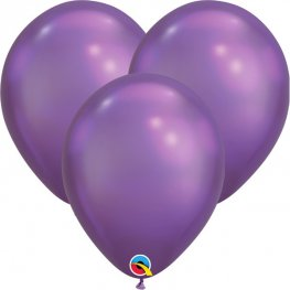 "7"" Chrome Purple Latex Balloons 100pk"