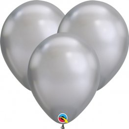 "7"" Chrome Silver Latex Balloons 100pk"