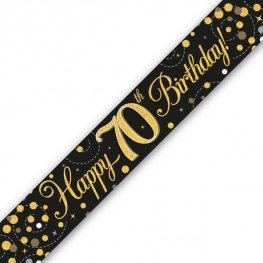 Black Sparkling Fizz Happy 70th Birthday Holographic Banner