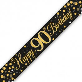 Black Sparkling Fizz Happy 90th Birthday Holographic Banner