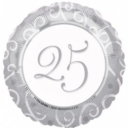 "18"" 25th Silver Anniversary Foil Balloons"