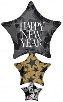 Happy New Year Stacker Supershape Balloons