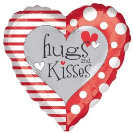 "18"" Red And White Hugs And Kisses Foil Balloons"