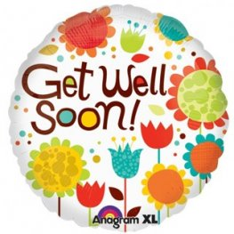 "18"" Cheery Flowers Get Well Soon Foil Balloons"