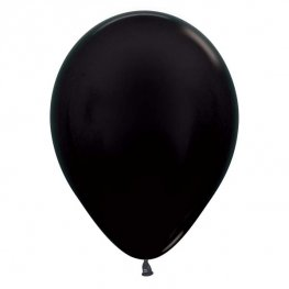 "12"" Metallic Black Latex Balloons 50pk"