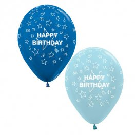 "12"" Happy Birthday Stars Blue Mix Latex Balloons 25pk"