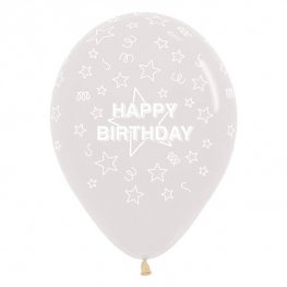 "12"" Happy Birthday Stars Clear Latex Balloons 25pk"