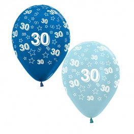 "12"" 30th Birthday Blue Stars Latex Balloons 25pk"