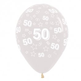 "12"" 50th Birthday Stars Clear Latex Balloons 25pk"