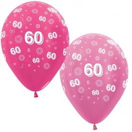 "12"" 60th Birthday Pink Flowers Latex Balloons 25pk"