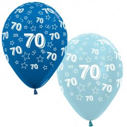 "12"" 70th Birthday Blue Stars Latex Balloons 25pk"