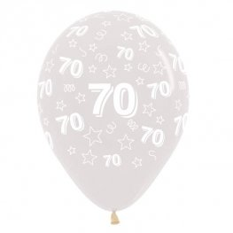 "12"" 70th Birthday Stars Clear Latex Balloons 25pk"
