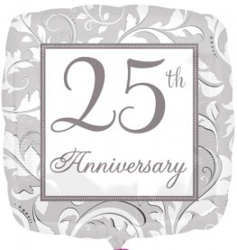 "18"" 25th Silver Anniversary Elegant Scroll Foil Balloons"