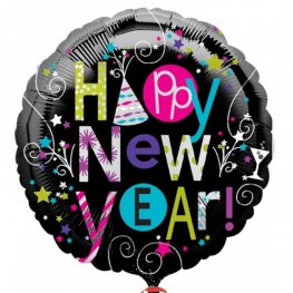 "18"" Playful Happy New Year Foil Balloons"