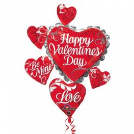 Happy Valentines Day Swirl Heart Cluster Supershape Balloons