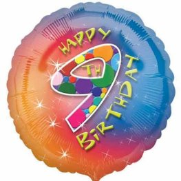 "18"" Happy 9th Birthday Foil Balloons"