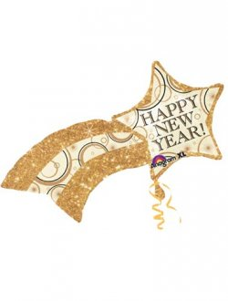 Happy New Year Shooting Star Supershape Balloons