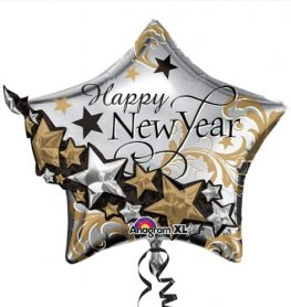 Happy New Year Star Garland Supershape Balloons