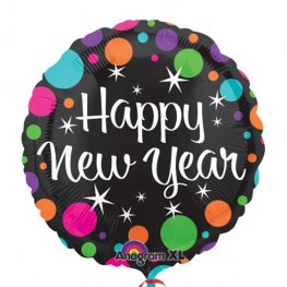 "21"" Happy New Year Colorful Dots Foil Balloons"