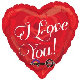"18"" Love You Rose Heart Foil Balloons"