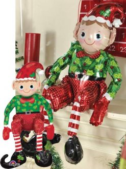 Sitting Elf Air Filled Foil Balloon