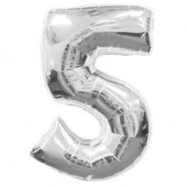 Number 5 Silver Supershape Balloons