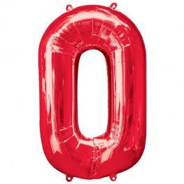 Number 0 Red Supershape Balloons