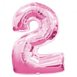 Number 2 Pink Supershape Balloons