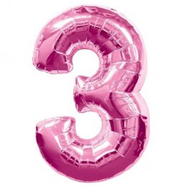 Number 3 Pink Supershape Balloons