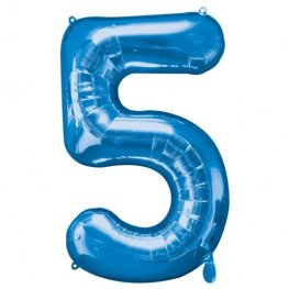 Number 5 Blue Supershape Balloons