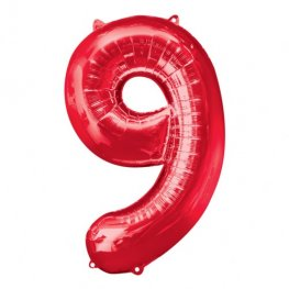 Number 9 Red Supershape Balloons