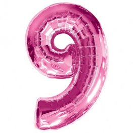 Number 9 Pink Supershape Balloons