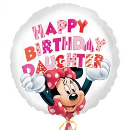 "18"" Minnie Mouse Happy Birthday Daughter Foil Balloons"