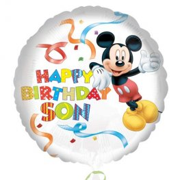 "18"" Mickey Mouse Happy Birthday Son Foil Balloons"